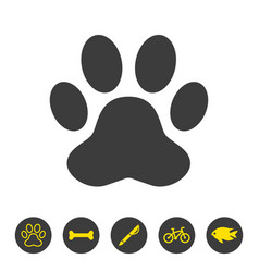 paw print icon on white background vector image