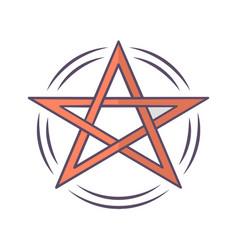 Pentagram color icon occult ritual pentacle devil vector