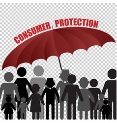 peple consumer family under the umbrella customer vector image