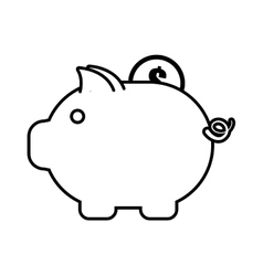 piggy money coin dollar outline vector image