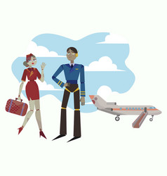 pilot plane and stewardess are preparing vector image
