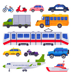 Public transport taxi car vehicle city train and vector