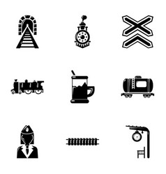 Railway work icons set simple style vector