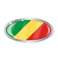 Republic of the congo flag oval button vector