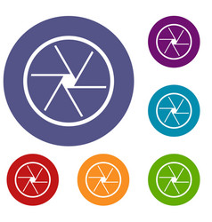 Round objective icons set vector