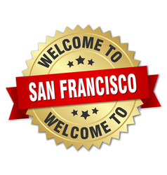 san francisco 3d gold badge with red ribbon vector image