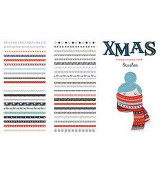 seamless christmas and winter pattern brushes for vector image