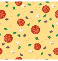 Seamless Pattern with Tomatoes Olives Mushrooms vector image