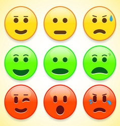 Set of colourful emoticon icons vector image