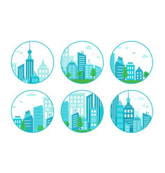 Set of round icons with blue city urban landscape vector