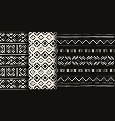 set white and black african seamless patterns vector image