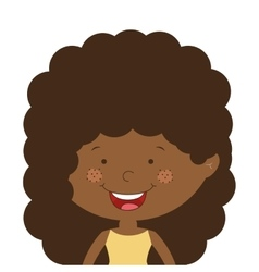 silhouette half body afro girl with curly hair vector image