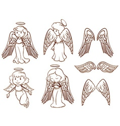 Simple sketches of angels and their wings vector