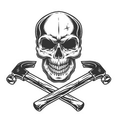 Skull and crossed builder hammers vector