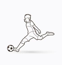 Soccer player shooting a ball action outline vector