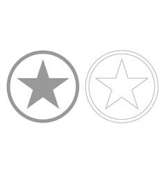 Star in circle grey set icon vector