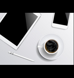tablet-smartphone-coffee-pen on the gray vector image