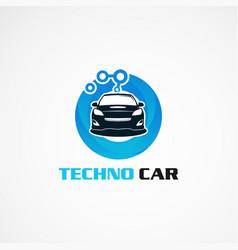 Techno car with blue circle logo icon element vector