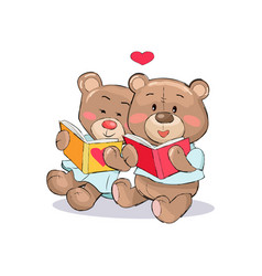 teddy bears read books with heart sign vector image