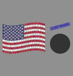 Usa flag mosaic circle and distress everywhere vector