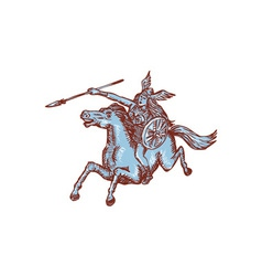 Valkyrie Warrior Riding Horse Spear Etching vector image