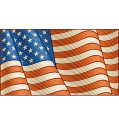 Vintage American flag background vector image