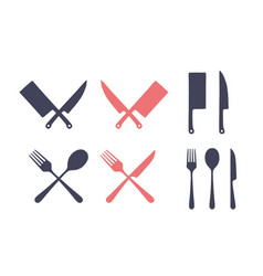 vintage kitchen set set meat cutting knife vector image