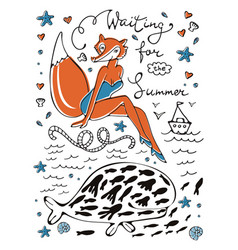 Waiting for summer sexy fox character in vector