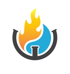 Water and fire plumbing logo designs concept vector