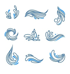 Water drop and splash eco icon set vector image