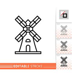 windmill mill farm simple thin line icon vector image