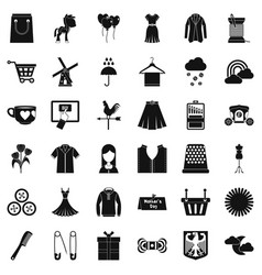 woman dress icons set simple style vector image