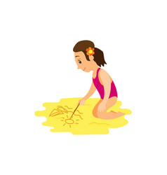 woman in swimsuit drawing stick on beach vector image