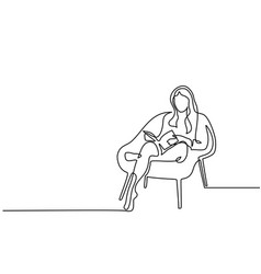 Woman sitting with book in chair vector