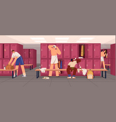 Young men with sports bags in locker room changing vector