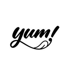 Yum yummy handwritten word vector