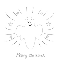 Christmas card with singing angel hand drawn vector
