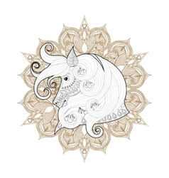 Hand drawn zentangle Ornamental Horse on mehendi vector image