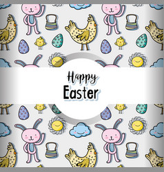 happy easter celebration holiday background vector image