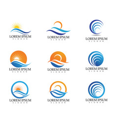 sun and water wave logo template design vector image