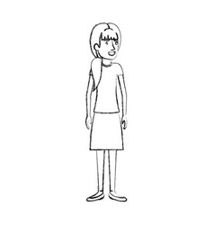 Blurred silhouette of woman standing with ponytail vector