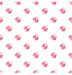 Pink beach bag and hat pattern vector