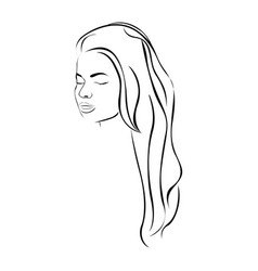sketch female face sensual silhouette with long vector image