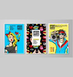 cards and banners in 80s-90s comic style vector image