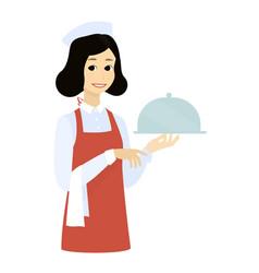 cute waitress with the tray dishcartoon vector image