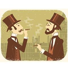 Gentlemen in bowler hatsVintage London background vector image vector image