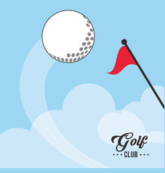 golf club ball and red flag vector image