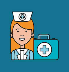 nurse medical professional with case first aid vector image