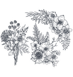 set of floral compositions bouquets with flowers vector image vector image