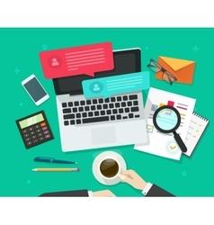 Social media marketing analysing online dialog vector image vector image